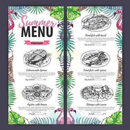Disegno a mano menu estivo con fenicotteri e foglie tropicali. Menu del ristorante Vettoriali