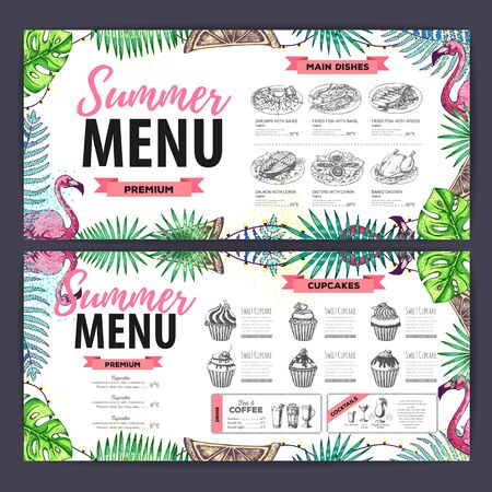 Hand drawing summer menu design with flamingo and tropic leaves. Restaurant menu Vectores