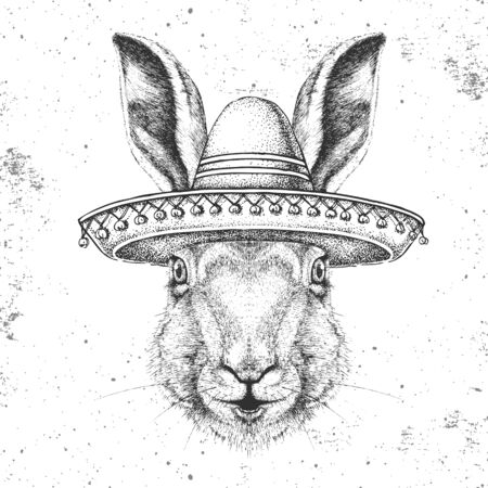 Hipster animal rabbit wearing a sombrero hat. Hand drawing Muzzle of rabbit Vettoriali