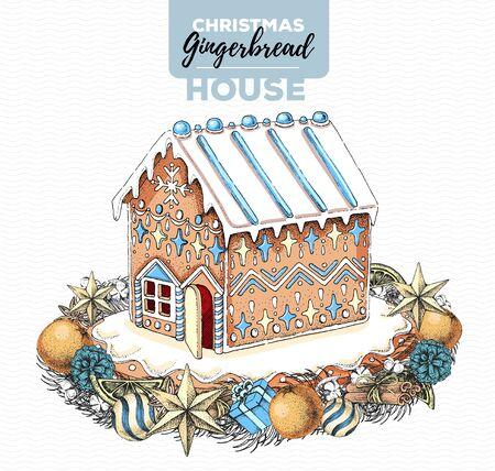 Handzeichnungsillustration des Weihnachtslebkuchenhauses und des Feiertagskranzes. Süße Bäckerei Vektorgrafik
