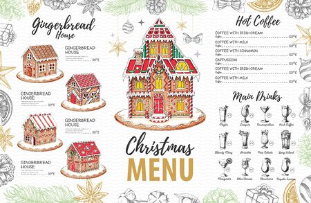 Christmas menu design with sweet gingerbread house and christmas cocktails