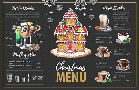 Christmas menu design with sweet gingerbread house, coffee and christmas cocktails Çizim