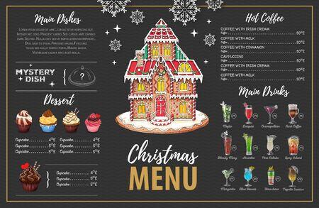 Projekt świątecznego menu ze słodkim domkiem z piernika, babeczkami i koktajlami