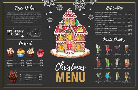 Weihnachtsmenüdesign mit süßem Lebkuchenhaus, Cupcakes und Cocktails