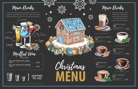 Christmas menu design with sweet gingerbread house, coffee and christmas cocktails