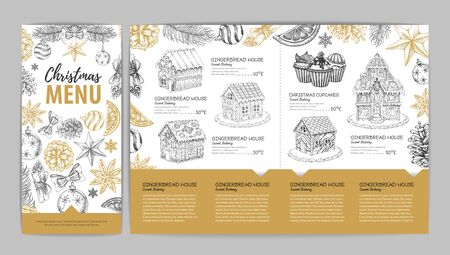 Christmas menu design with sweet gingerbread house and cupcakes. Christmas decorations Ilustrace