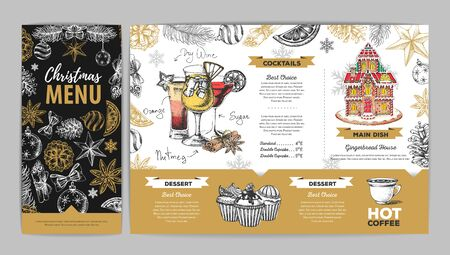 Christmas menu design with sweet gingerbread house, cupcakes and cocktails