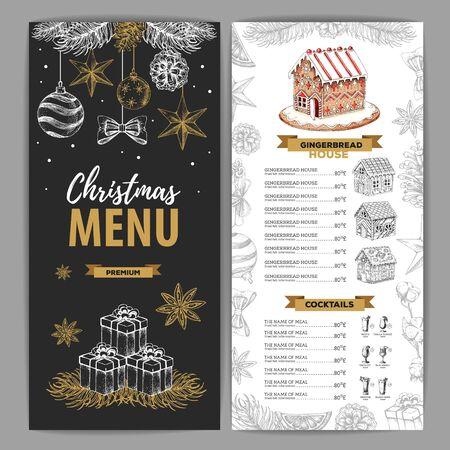 Design del menu di Natale con dolce casa di pan di zenzero e cocktail natalizi Vettoriali