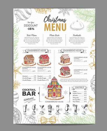 Christmas menu design with sweet gingerbread house and christmas cocktails Ilustrace