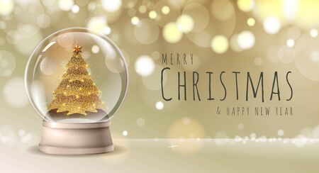 Realistic vector illustration of snow globe with golden christmas tree inside. Blurred holiday christmas sparkle background Vetores