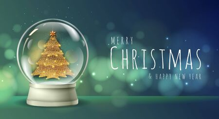 Realistic vector illustration of snow globe with golden christmas tree inside. Blurred holiday christmas sparkle background Ilustrace