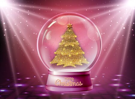 Realistic vector illustration of snow globe with golden christmas tree inside. Blurred disco sparkle background Ilustrace