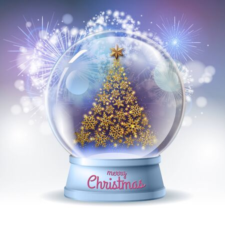 Realistic vector illustration of snow globe with golden christmas tree inside. Holiday firework background