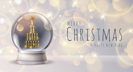 Realistic vector illustration of snow globe with golden champagne bottle pyramid inside. Blurred holiday background
