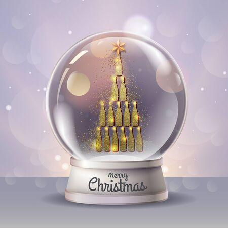 Realistic vector illustration of snow globe with golden champagne bottle pyramid inside. Holiday firework background