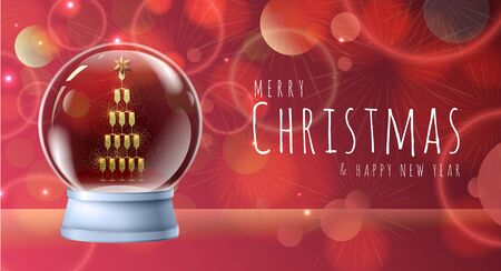 Realistic vector illustration of snow globe with pyramid of champagne golden glasses inside. Blurred holiday background