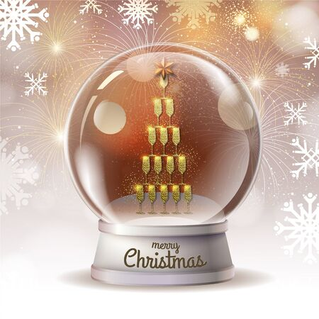 Realistic vector illustration of snow globe with pyramid of champagne golden glasses inside. Firework holiday background