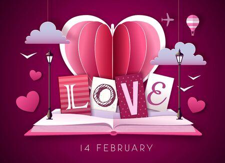 Open fairy tale book with valentine love heart. Happy Valentine`s day background. Cut out paper art style design Illusztráció