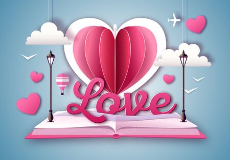 Open fairy tale book with valentine love heart. Happy Valentine`s day background. Cut out paper art style design Иллюстрация