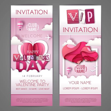 Happy Valentines day invitation design with love hearts in the sky. Cut out paper art style design Illusztráció