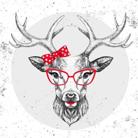 Cervi animali retrò hipster. Disegno a mano Muso di cervo animale. Ragazza degli anni '60
