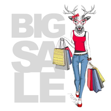 Retro Hipster animal deer. Big sale hipster poster with woman model