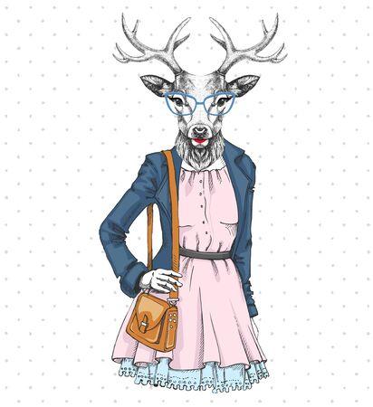 Retro Hipster fashion animal deer. Woman model