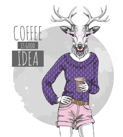Retro Hipster fashion animal deer with coffee. Woman model