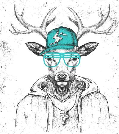 Hipster animal deer dressed in cap like rapper. Hand drawing Muzzle of deer
