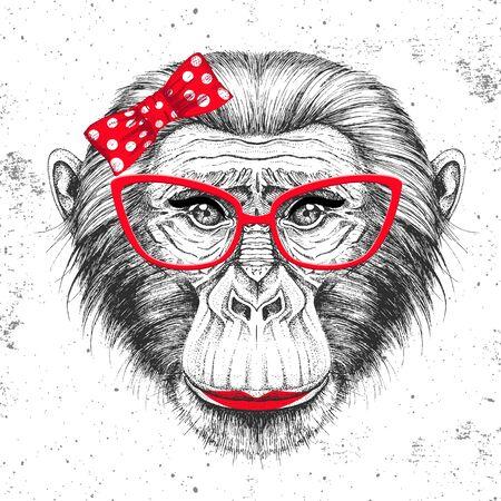 Retro Hipster animal monkey. Hand drawing Muzzle of animal chimpanzee. Girl of 60s Vettoriali