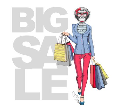 Retro Hipster animal monkey. Big sale hipster poster with woman model 矢量图像