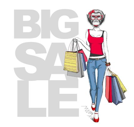 Retro Hipster animal monkey. Big sale hipster poster with woman model Ilustrace