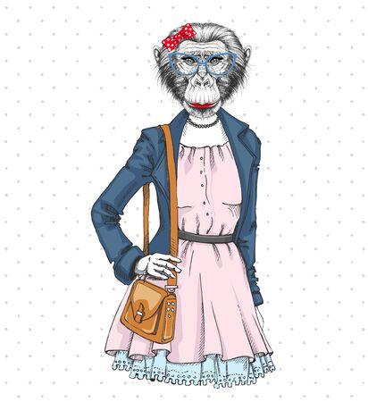 Retro Hipster fashion animal monkey. Woman model 向量圖像
