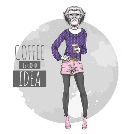 Retro Hipster fashion animal monkey with coffee. Woman model