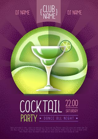 Cocktail disco party poster. Grainy texture vector illustration