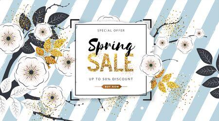 Frühlingsverkaufsposter mit vollen Blütenblumen und goldenen Blättern. Frühlingsblumen Hintergrund Vektorgrafik