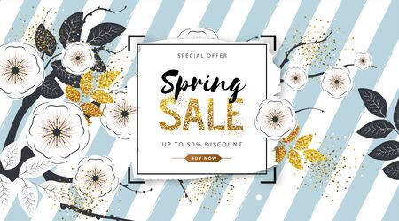 Spring sale poster with full blossom flowers and golden leaves. Spring flowers background