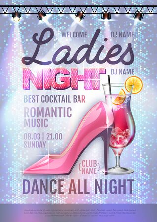 Disco ball background. Disco party poster ladies night. Womens day party Illustration