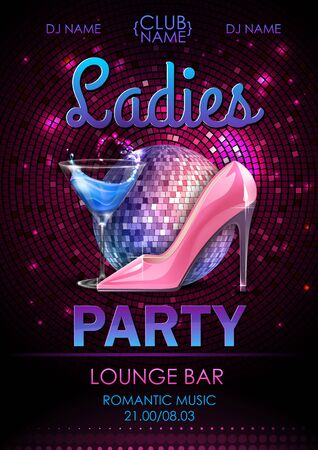 Disco ball background. Disco ladies party poster with cocktail. Womens day party