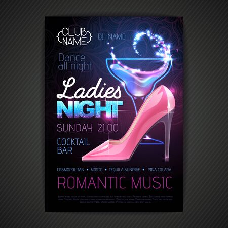 Disco ball background. Disco party poster ladies night with cocktail. Womens day party