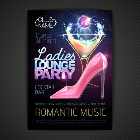 Disco ball background. Disco poster ladies lounge party. Womens day party