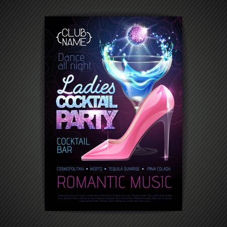 Disco ball background. Disco poster ladies cocktail party. Womens day party Illustration