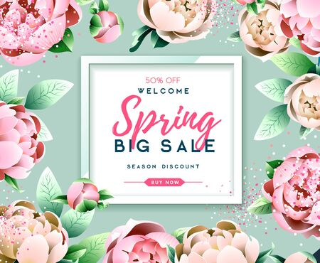 Spring sale typography poster with full blossom pion flowers. Spring background