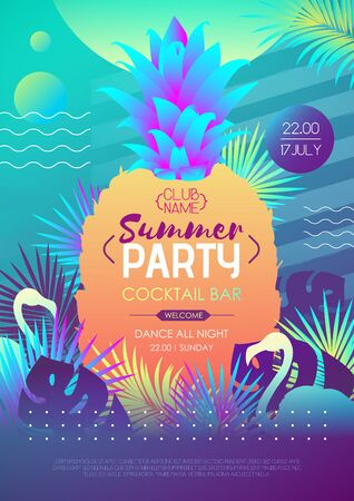 Colorful summer disco party poster with fluorescent tropic leaves, pineapple and flamingo. Summertime background