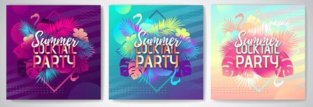 Set of Colorful summer cocktail party posters with fluorescent tropic leaves and flamingo. Summertime background Illustration