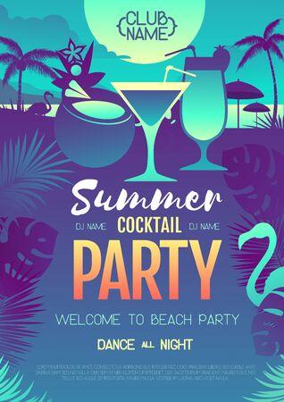 Colorful summer cocktail disco party poster with fluorescent tropic leaves and flamingo. Summertime beach background