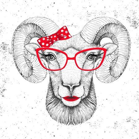 Retro Hipster animal ram or mouflon. Hand drawing Muzzle of animal ram. Girl of 60s