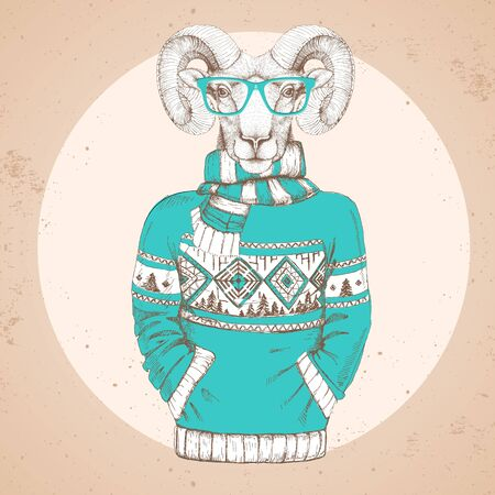 Retro Hipster fashion animal ram or mouflon dressed up in pullover.