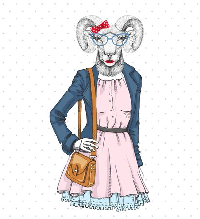 Retro Hipster fashion animal ram or mouflon. Woman model