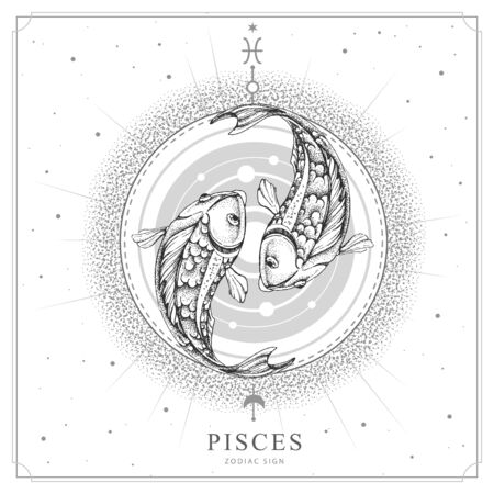 Modern magic witchcraft card with astrology Pisces zodiac sign. Realistic hand drawing koi fish illustration Ilustración de vector